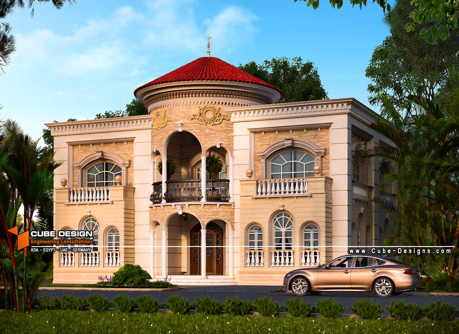 Classic villa 2 cube design for Villa rose riyadh interior design
